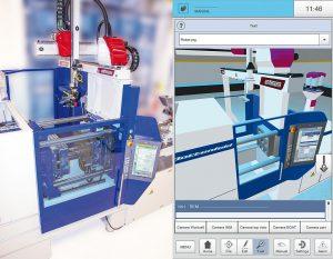 Links eine reale Arbeitszelle, rechts die entsprechende Darstellung als digitaler Zwilling auf der R9 Robotsteuerung. (Fotos: Wittmann)