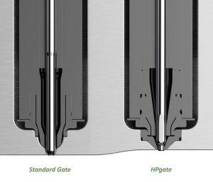 Hauptkennzeichen des neuen HPgate-Konzepts (rechts) ist ein in das Werkzeug eingeschraubter Einsatz aus gehärtetem Metall, in den ein konisch-zylindrischer Anschnitt eingearbeitet ist. (Abb.: HRSflow)