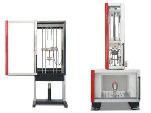 Die neuen Fallwerke HIT600F und HIT1100F zur Material- und Bauteilprüfung. (Foto: Zwick)