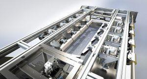 Dreidimensional im Raum verfahrbares Greifersystem mit 10 Greifern. (Foto: Kiefel)