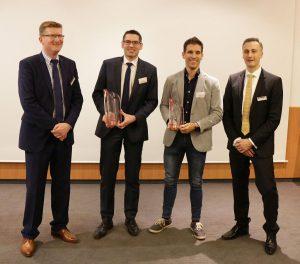 Die Gewinner des Sigma Award 2017 mit der Sigma Geschäftsleitung (v. l.): Thomas Klein, Geschäftsführer Sigma, Marco Kwiatkowski (Günther Heisskanaltechnik), Marco Ruivo (Speedturtle) und Timo Gebauer, CTO Sigma. (Foto: Sigma Engineering)