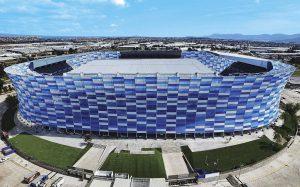 Das weltweit größte Mosaik aus ETFE Folie ziert das Estadio Cuauhtémoc in Mexiko. (Foto: Dyneon)