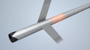 Umwicklung eines Kunststoffrohres mit glasfaserverstärkten UD Tapes (TCP). (Foto: Krauss Maffei)