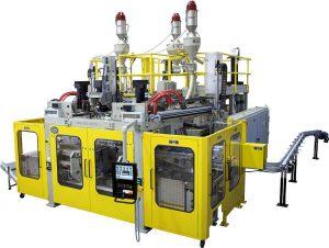 Hochleistungsblasformanlage Eblow 407 DL mit 3-Schichten-Co-Ex und magnetischem Formenschnellwechsel. (Foto: Bekum)