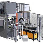 Die hydraulische Vertikalmaschine MTF 1500/280 ist in Kombination mit automatisierter Formteilentnahme und Weiterbearbeitungseinrichtungen zur vollautomatischen Produktionszelle hochgerüstet. (Abb.: Maplan)
