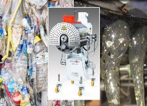 Feinabrieb beim Recycling von PET-Flaschen (l.) enthält bis zu 1,5 %. In den Extrusionsprozess eingebunden, trennen ECO-Hochleistungsschmelzefilter diese Stoffe kontinuierlich zu fast 100 % aus der Schmelze ab (r.). (Foto: Ettlinger)