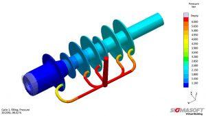 Druckverteilung während der Füllung im ursprünglichen Design, das Angusssystem verursacht eine deutliche Unbalanciertheit bei der Füllung. (Abb.: Sigma Engineering)