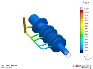 Druckverteilung in der mittels virtueller DoE optimierten Version; bei leicht erhöhtem Druckbedarf zeigt die optimierte Version ein gleichmäßigeres Füllverhalten. (Abb.: Sigma Engineering)
