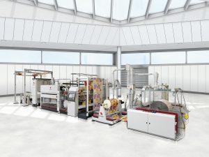 Die Lamitec-Anlage für das Beschichten und Laminieren von Kunststoffgewebe. (Foto: Starlinger)
