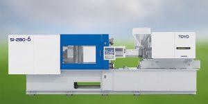 Auf einer vollelektrischen Toyo-Spritzgießmaschine mit 2.800 kN Schließkraft werden auf der Fakuma die Vorzüge des Spritzschäumens bzw. Negativprägens demonstriert. (Foto: Deckerform)