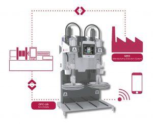 Mit der optionalen OPC-UA-Anbindung ermöglicht Elmet die lizenzfreie Einbindung des LSR-Dosiersystems Top 5000 P in das Produktionsleitsystem sowie eine erleichterte Bedienung direkt von der Spritzgießmaschine aus. (Abb.: Elmet)