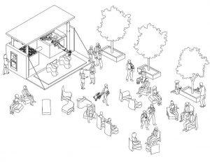 Das Konzept zur Idee: Die Druck-Station mit dem Roboterarm dient als Möbel-Crowdfunding, indem die Bürger Flaschen einwerfen. Die gedruckten Möbel daraus sollen dann für den öffentlichen Raum sein. (Grafik: Moritz Wesseler)