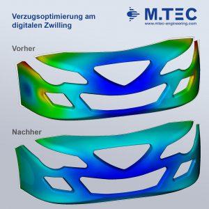 Verzugsoptimierung am digitalen Zwilling am Beispiel einer Frontschürze. (Abb.: M.Tec)