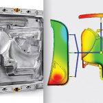 Das für Kundenversuche verfügbare Familienwerkzeug zur Herstellung von drei sehr unterschiedlich großen Elementen eines Kfz-Türmoduls in einem Schuss ermöglicht durch die Flexflow-Technologie verzugsarme, fehlerlose Teile mit fein genarbten Class-A-Oberflächen. (Abb.: HRSflow)
