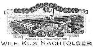 Das von Carl Ebel geführte Unternehmen Wilhelm Kux Nachfolger beschäftigte um die Jahrhundertwende bereits mehrere hundert Mitarbeiter, die rohe und gummierte Feuerwehrschläuche, Hanf und Baumwollriemen, gummierte Riemen, sowie technische Gummiwaren herstellten. (Abb.: Teguma)