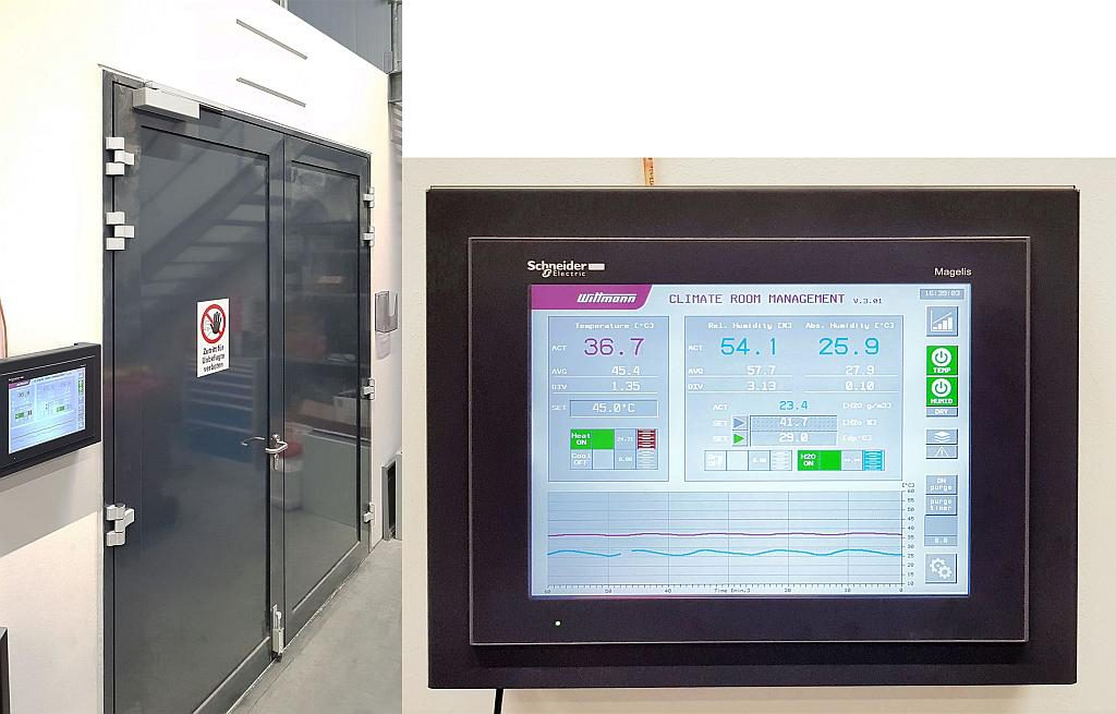Von außen hermetisch abgeriegelt, können die aktuell in der Kammer herrschenden klimatischen Verhältnisse an einem Touch-Terminal abgerufen werden. (Fotos: Wittmann)