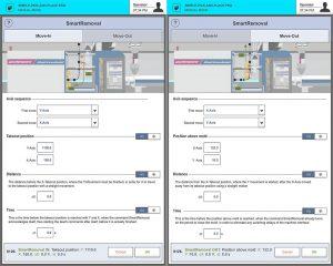 Eingabefenster für SmartRemoval Move In (links) und SmartRemoval Move Out auf der Steuerung R9. (Abb.: Wittmann)