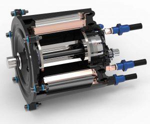 Schnittdarstellung des Elektromotors. Kernstück des Motors bildet ein Stator aus zwölf Einzelzähnen, die mit einem Flachdraht hochkant umwickelt sind. (Abb.: Fraunhofer ICT)