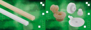 Zahnstangen und Kegelräder aus Polyacetal oder Polyketon können Kraftübertragungs- und Positionieraufgaben im Maschinenbau und in der Automatisierungstechnik übernehmen. (Fotos: Norelem)