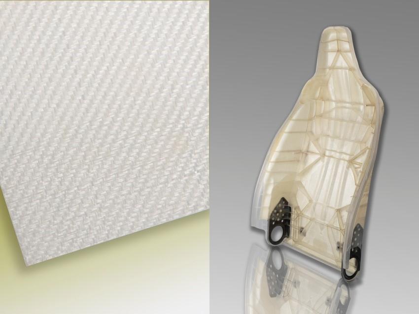 Selbstverstärkte PLA-Verbundwerkstoffe: Konsolidiertes selbstverstärktes PLA-Gewebe als Verstärkungsstruktur (links), Prototyp einer hybriden Sitzstruktur aus selbstverstärktem PLA (rechts). (Fotos: Fraunhofer ICT)