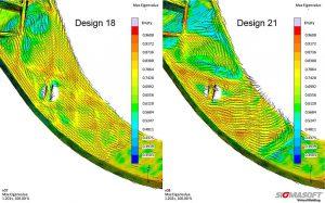 Die Faserorientierung verändert sich mit der Position des Anspritzpunktes. Mit Hilfe der virtuellen DoE werden verschiedene Anspritzpunkte und die daraus resultierende Faserorientierung verglichen, um die beste Position zu finden. (Abb.: Sigmasoft)