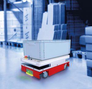 Vielseitig und kompakt präsentiert sich das fahrerlose Transportsystem Agumos C4060 von Melkus. (Foto: Sigmatek)