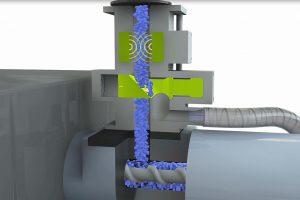 Die Protector-Systeme werden direkten über dem Materialeinlauf der Spritzgießmaschinen als Last-Chance-Kontrolle installiert. (Abb.: Sesotec)