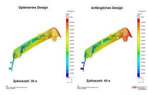 Mit der Sigmasoft ermittelte der Anwender die kürzeste mögliche Zykluszeit für eine Anwendung, während gleichzeitig die Formbeständigkeit verbessert wurde. Dargestellt ist die Bauteilverformung im verbesserten (l.) und im anfänglichen Design (r.). (Abb.: Sigma Engineering)