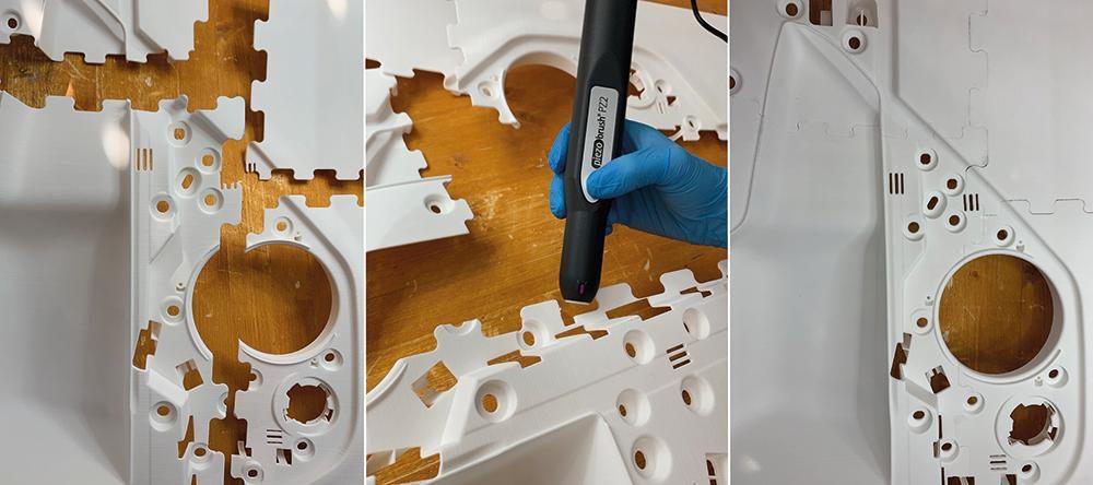 Bauteile der Türinnenverkleidung als Einzelteile, bei der Plasmaaktivierung und verklebt. (Fotos: Creabis GmbH)