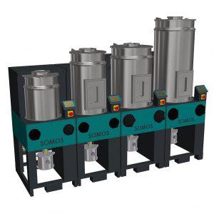 Die modular aufgebaute, stationäre Granulat-Trocknungsanlage Somos RDF (Resin Dryer Flexible) von Protec. (Foto: Protec)