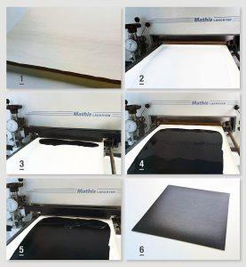 1. Release-Papier mit Leder-Narbung – 2. Auf Release-Papier lackiertes Rowanyl 105004W – 3. Vorbereitung zum Auftragen des Plastisol-Deckstrichs auf das getrocknete Rowanyl – 4. Lackierter Plastisol-Deckstrich – 5. Vorbereitung zum Auftragen des Plastisol-Haftstrichs auf den vorgelierten Plastisol-Deckstrich – 6. Ausgeliertes, vom Release-Papier abgelöstes und zugeschnittenes Kunstleder. (Foto: Rowa Lack)