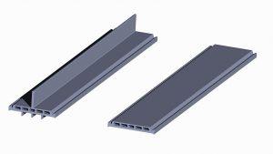 Aus High-Temp PVC extrudierte Verstärkungsrippen für Verbundbauteile zur thermischen Trennung von Aluminiumprofilen in Tür- und Fensterkonstruktionen. (Foto: SLS)