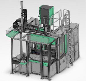 """Auch hier steht die gesamte Fertigungszelle unter dem Stichwort """"Kompakte Automation"""". Maschine und Peripherie brauchen nur vergleichsweise wenig Platz, alle Komponenten wurden auf ihren Platzbedarf hin optimiert. Die smarte Selogica-Steuerung erlaubt die Einbindung in übergeordnete QS- und MES-Systeme und damit ein Arbeiten nach den Standards von Industrie 4.0. (Foto: Lauffer)"""