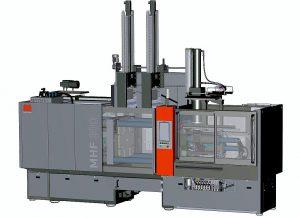 Hydraulische Horizontalmaschine Rapid 700D/300 in Kombination mit Stopfvorrichtung zur Verarbeitung von HTV-Silikon und einem servoelektrisch angetriebenen Doppelbürstensystem zur automatischen Teileentformung. (Abb.: Maplan)