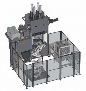 Produktionszelle auf Basis einer hydraulischen Vertikalmaschine aus der neuen Ergo-Baureihe mit automatisierter Formteilentnahme und Weiterbearbeitungseinrichtungen. (Abb.: Maplan)