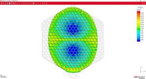 SigmaInteract zeigt die Temperaturverteilung im Bauteil während des Einspritzvorgangs auf einem interaktiven 3D Modell, hier bei 74% gefüllt. (Foto: Sigma)