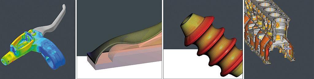 CAx Produkte des SimpaTec Produktportfolios: Digimat, T-SIM, B-SIM und 3D_Evolution. (Foto: Simpatec)