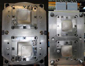 Blick in beide Werkzeughälften zur Herstellung des Eiskratzers. Die Indexplatte wird durch einen Servomotor und ein Zahnrad dynamisch bewegt. (Fotos: Weber)