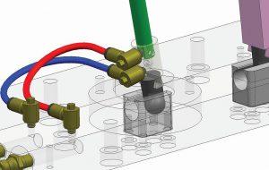 Mit dem neuen 3D Accualign Lifter von DME lassen sich Kunststoffteile mit komplexen Geometrien herstellen. (Foto: Mold-Masters)