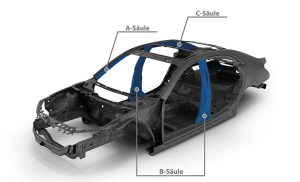 Kraibon lässt sich vielseitig in Karosseriebauteilen verwenden – so etwa in der A, B oder C-Säule. (Abb.: Gummiwerk Kraiburg)