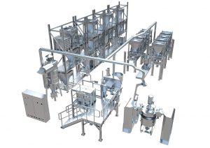 Das System umfasst den An- und Abtransport der zentral gelagerten Komponenten, sowie die Dosierung und Mischung der benötigten Additive und Zusatzstoffe in Kleinstmengen mit hoher Genauigkeit. (Abb.: Coperion)