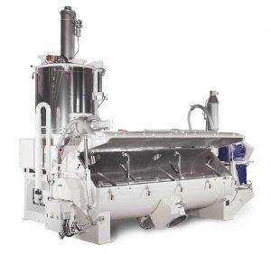 Die Kombination eines Heiz-/Kühlmischers Flex-line mit dem Aspirationssystem Vent tec 2.0 ist für die Herstellung von Naturfaser-Compounds optimiert. (Foto: MTI Mischtechnik)