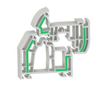 Eine mögliche Anwendung von Ultradur (grün) in einem PVC-Fensterprofil, verarbeitet in Co-Extrusion. (Abb.: BASF)