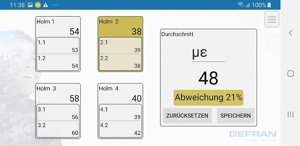 Die Sensormate-App zeigt übersichtlich die biegekompensierte Dehnung aller Holme und den Durchschnittswert der Dehnungen an. (Abb.: Gefran)