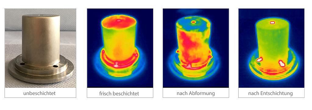 Aufnahme eines unbeschichteten Einsatzes (l.) sowie Wärmebildaufnahmen eines Werkzeugeinsatzes mit Beschichtung, nachdem Abformversuche damit durchgeführt wurden und nach Entfernung der Schicht (r.). (Abb.: Innovent)
