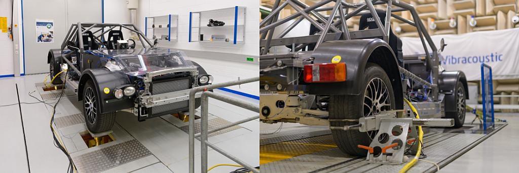 Auf der Vier-Stempel-Anlage (l.) und dem Rollenprüfstand (r.) analysiert, optimiert und bewertet Vibracoustic die Auswirkungen der Fahrzeugarchitektur und ihrer Komponenten auf die NVH-Leistung. (Foto: Vibracoustic)