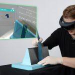 Das Fraunhofer IPT hat eine Software für marktübliche Smart Glasses entwickelt, die die exakte Ablage der Faserhalbzeuge direkt auf dem Bauteil virtuell sichtbar macht. (Foto: Fraunhofer IPT)