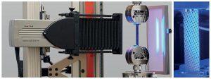 Berührungslose Dehnungsmessung mit dem videoXtens unter Verwendung des natürlichen Musters der Probenoberfläche. (Foto: ZwickRoell)