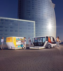 Das neue modulare Konzeptfahrzeug MetroSnap von Rinspeed baut auf den MicroSnap und den Konzeptfahrzeugen der Vorjahre auf. (Abb.: Foampartner)
