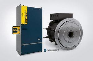 Für den Betrieb der DST2 560 können mehrere b maXX 5500 Servoumrichter an einem Motor betrieben werden. Sowohl der Motor als auch die Umrichter sind in wassergekühlter Ausführung verfügbar. (Foto: Baumüller)